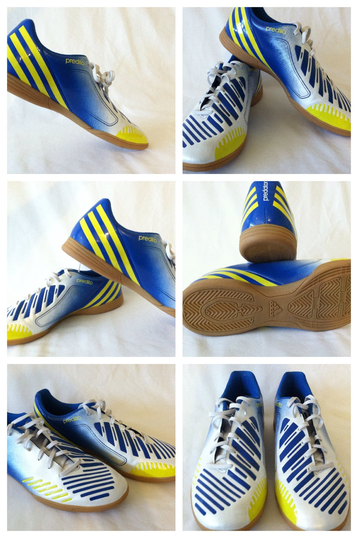 New Men Adidas Predator Athletic Indoor Soccer Shoes White Blue Yellow Size10 5 Soccer Shoes Futsal Shoes Soccer Boots