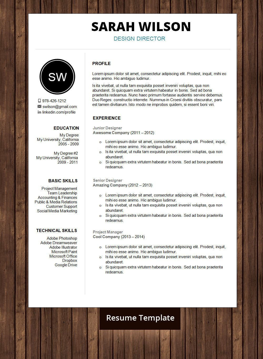 ☆ instant download ☆ professional resume template / resume.