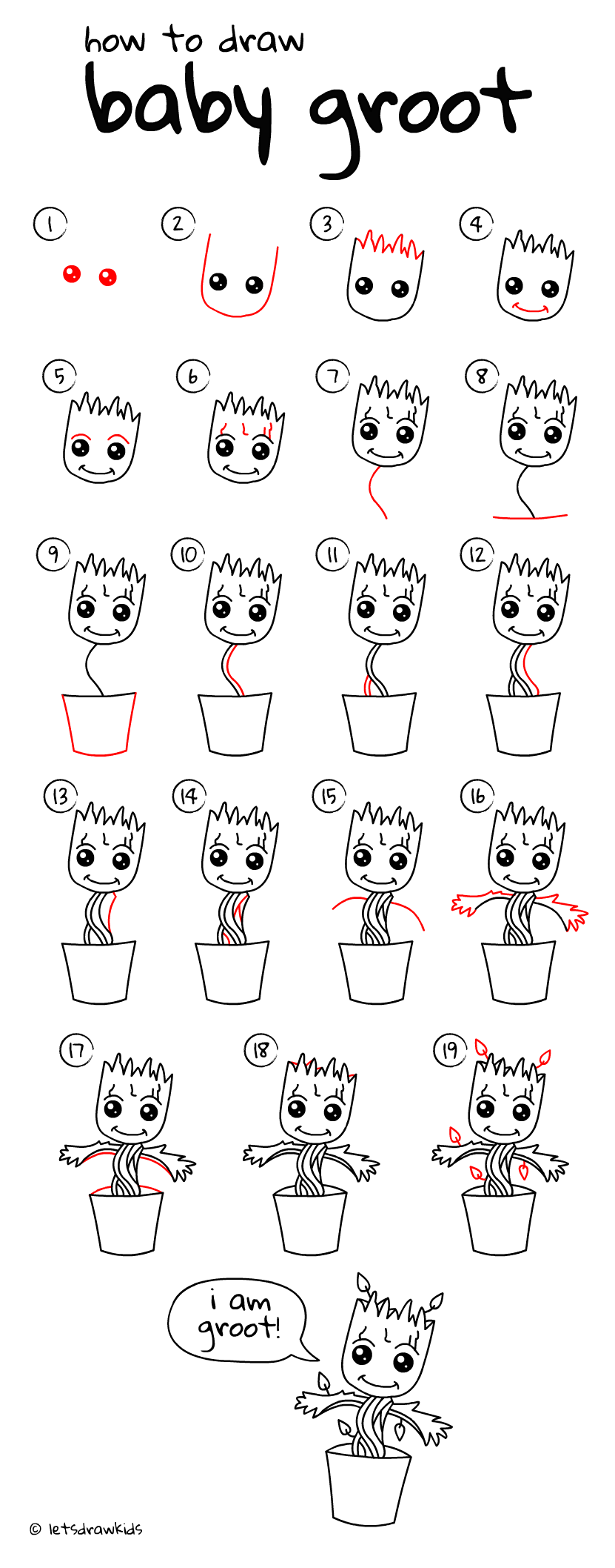 How to draw baby groot easy drawing step by step for Baby drawing easy