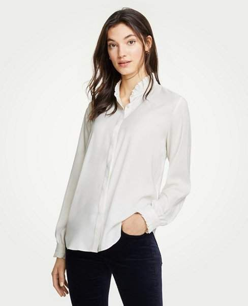 38bc79879 Ann Taylor Petite Ruffle Button Down Blouse | Products | Blouse ...