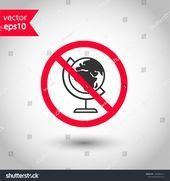 Forbidden globe icon Prohibited earth vector icon No globe icon Warning caut Forbidden globe icon Prohibited earth vector icon No globe icon Warning caution attention res...