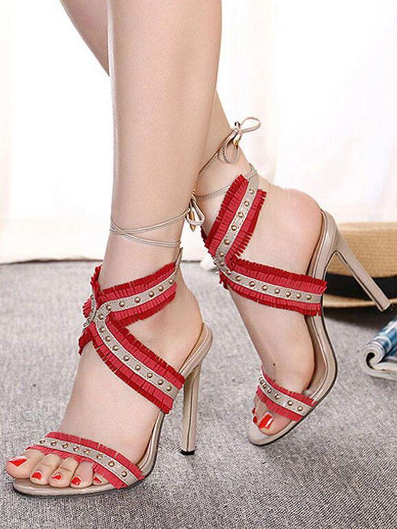 Red Tassels Tie Leg Heeled Sandals | Heels, Red tassel heels