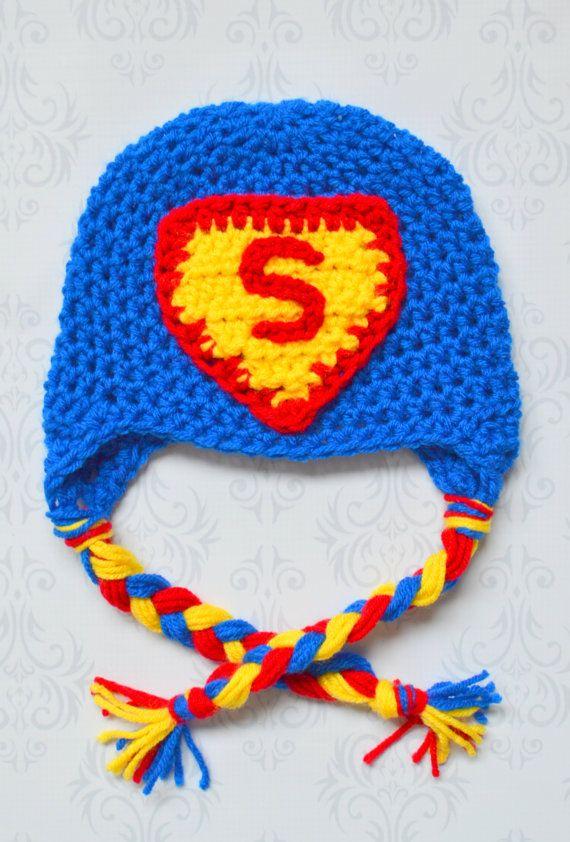 Crochet Superman Earflap Beanie Hat  607ef0ef819