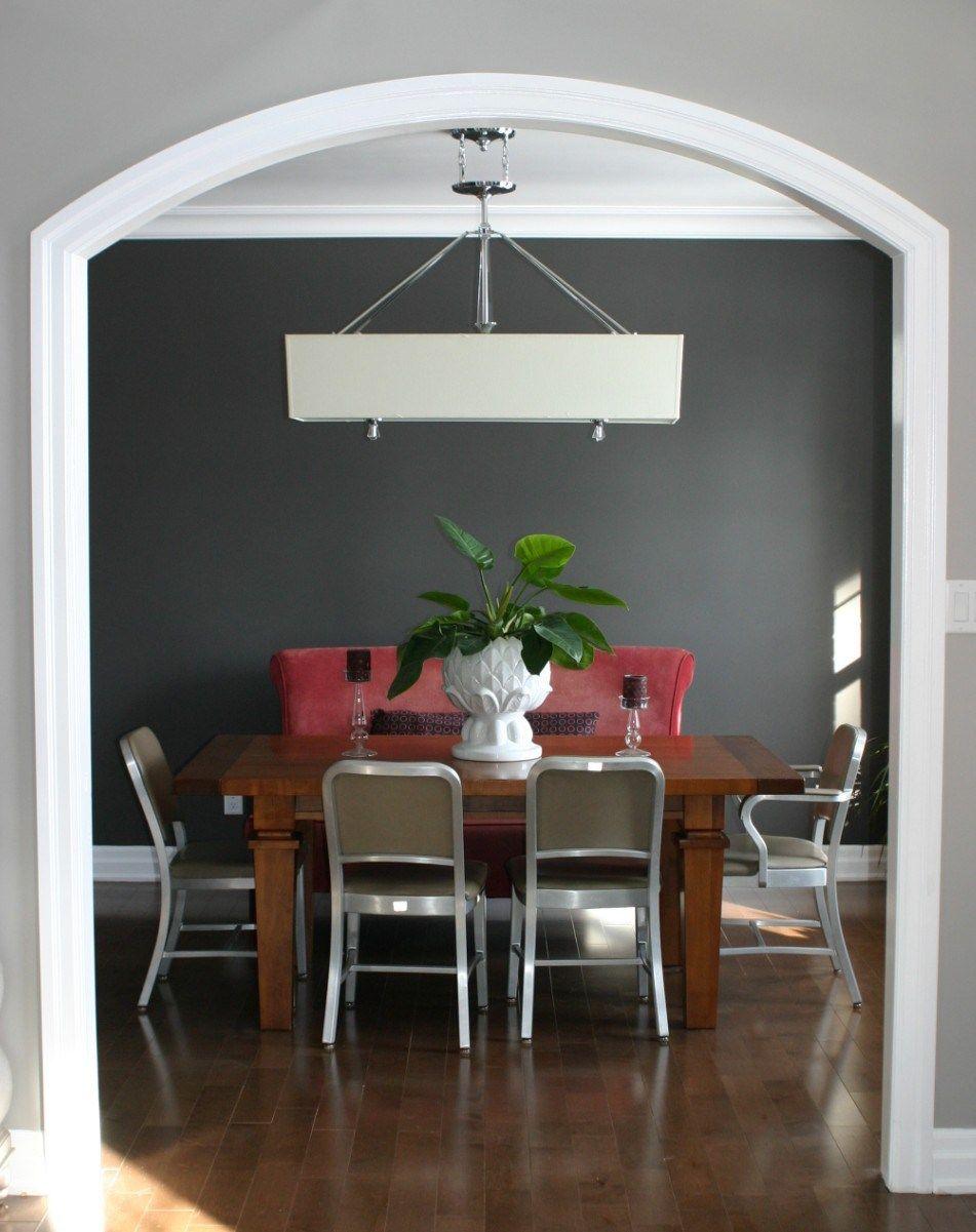 Dinning Room Dark Grey Accent Wall