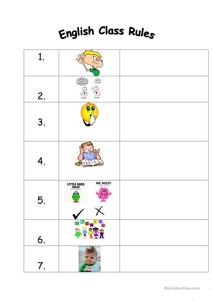 English Class Rules | ESL worksheets of the day | Pinterest | Englisch