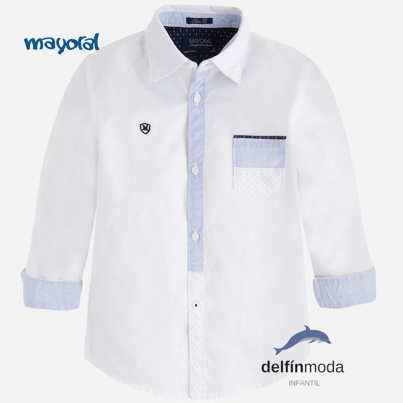 Camisa de niño manga larga MAYORAL en color blanca | Camisas para ...