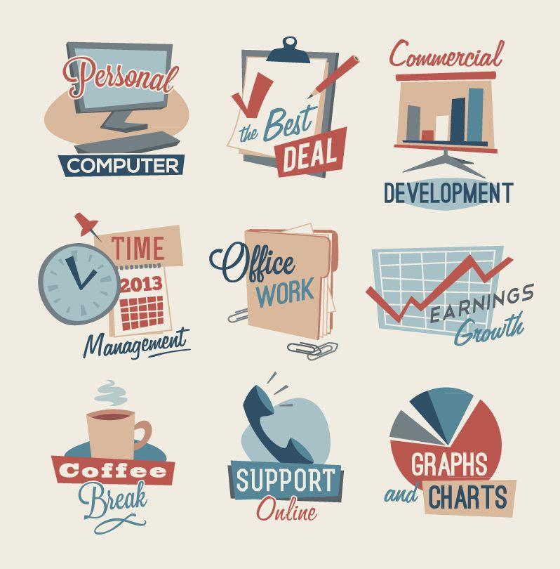 Retro Office Icons Free Vector Graphic Download Office Icon Business Icon Retro Business Card