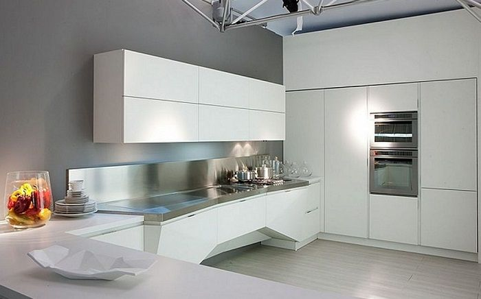 Modern futuristic white italian kitchen design http for Modern italian kitchen