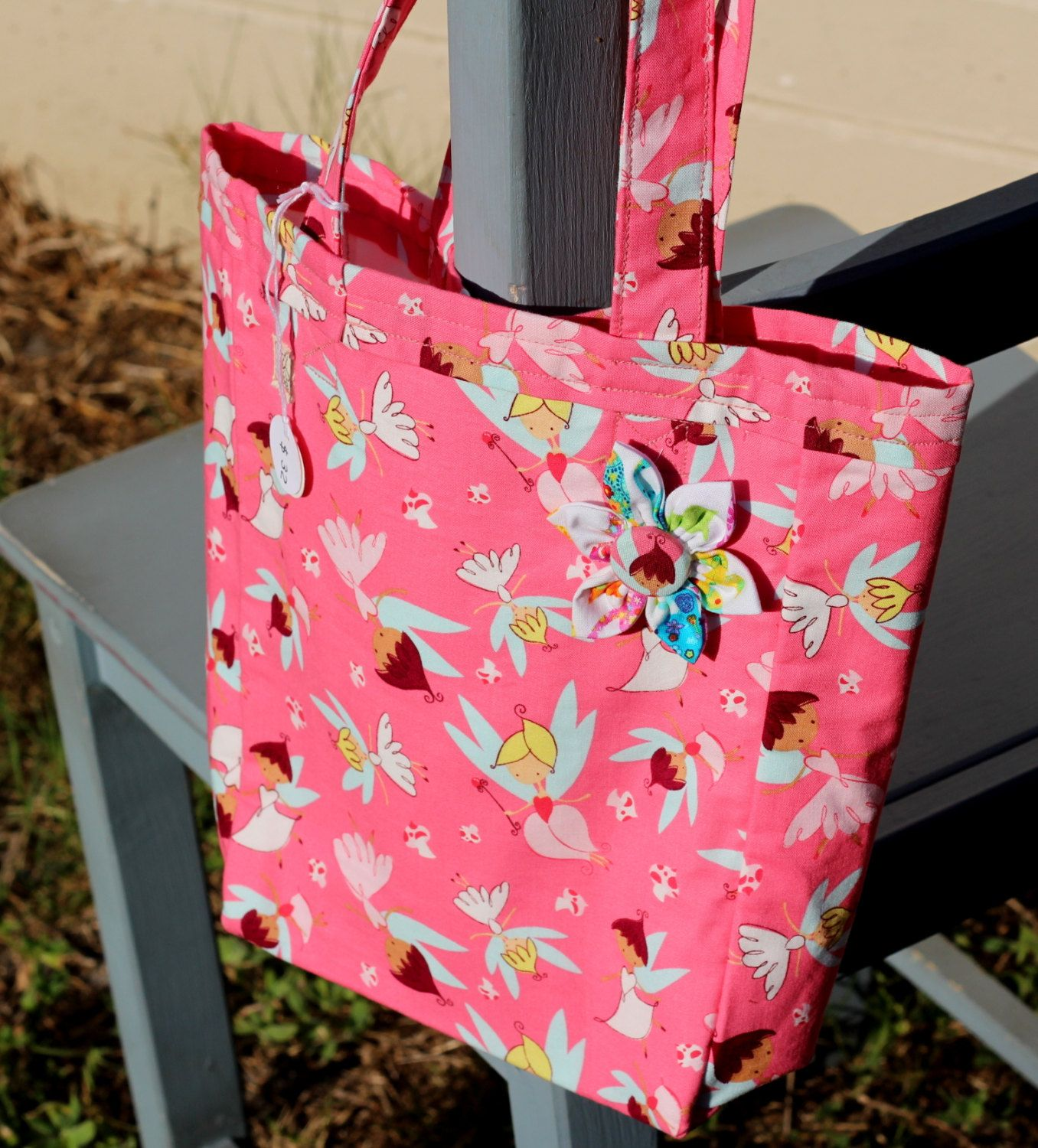 Tote 100% pink cotton with flighty faeries by PuppyPawzBoutique on Etsy