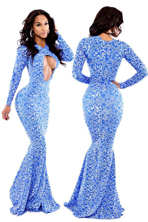 White Paisley Allure Blue Mermaid Maxi Dress   Fashion Dresses ...