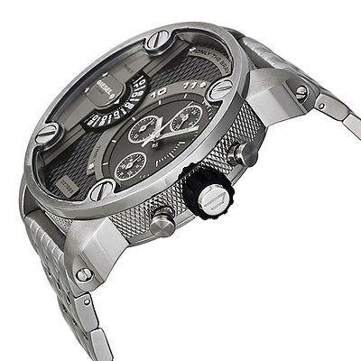 6a2de63c8 Diesel SBA Dual Time Chronograph Grey Dial Stainless Steel Mens Watch DZ7259