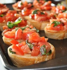 Avril Lavigne shared this bruschetta recipe in People magazine earlier this year and I have made it for several parties and dinners. It is very quick and e