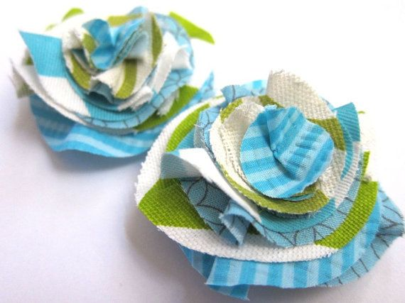 Boho Blossom Hair Clip Set - Ruffled Fabric Flower Calico Layered Accessory . Cottage Chic Shabby . Aqua Blue Lime Green . Preppy