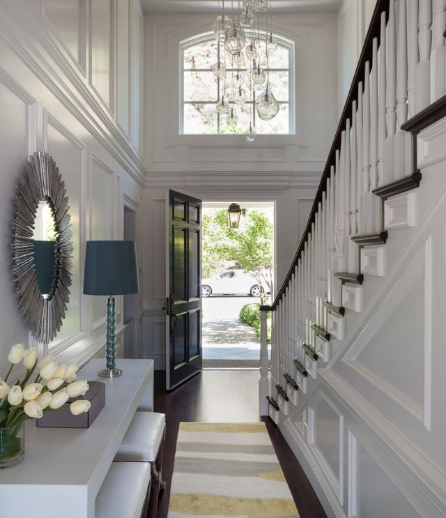 Foyer Light 2 Story: 2 Story Foyer, Layers Of Trim Work, Dark Wood Floors With