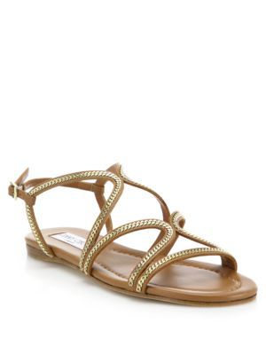 6674b6a27f4099 JIMMY CHOO Nickel Chain-Trim Leather Sandals.  jimmychoo  shoes  sandals