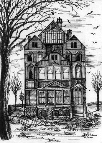 Sketch halloween google sketches pinterest Haunted house drawing ideas