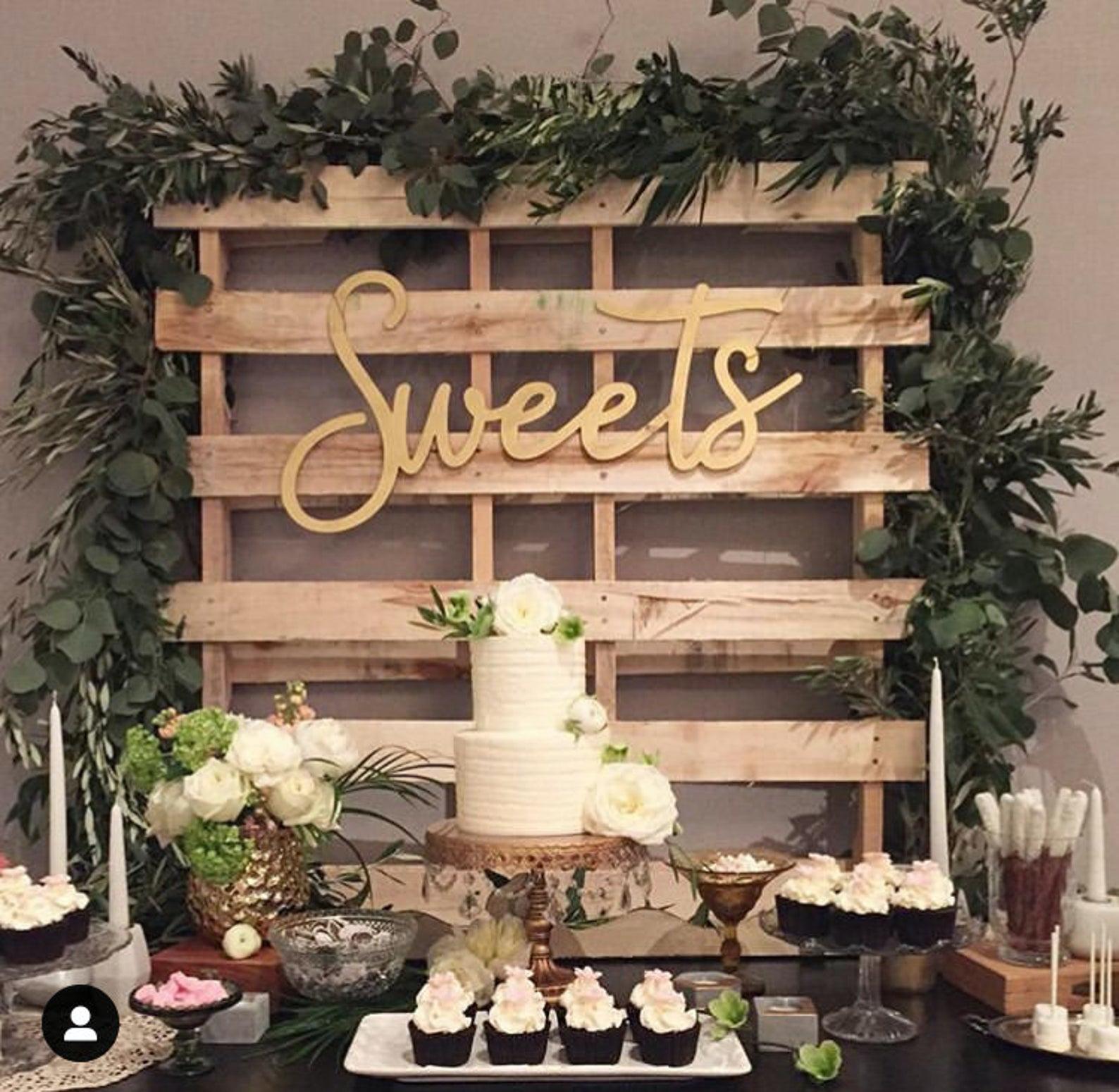 Sweets Sign Wood Wedding Decor Wedding Signs Wedding Decor Wedding Signage Dessert Sign Dessert Table Sign In 2020 Wedding Desert Table Wedding Shower Desserts Wedding Cake Table