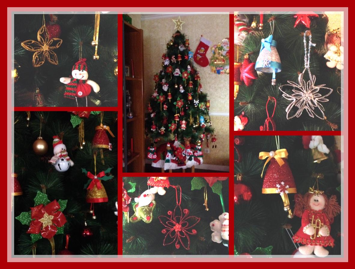 Colocacion de los adornos navideños que he realizado con material reciclado en el arbol , como las flores de noche buena, las campanas, y los colgantes con rollo de papel higienico, espero les guste./ DIY by Luz Arias