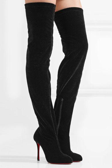 16549e39840 CHRISTIAN LOUBOUTIN Classe Black stretch-velvet over-the-knee boots ...