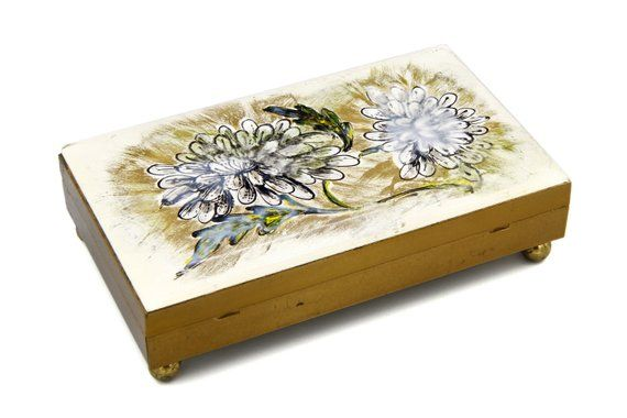 Footed Jewelry Box Large Cigarette Case Business Card Holder Desk Trinket Gold Metal Painted Ornate Enameled