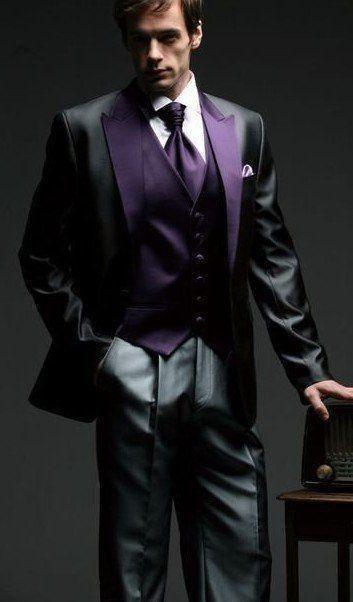 New Arrival Black Tuxedos For Men Purple Peaked Lapel Wedding Suits 3 Pieces