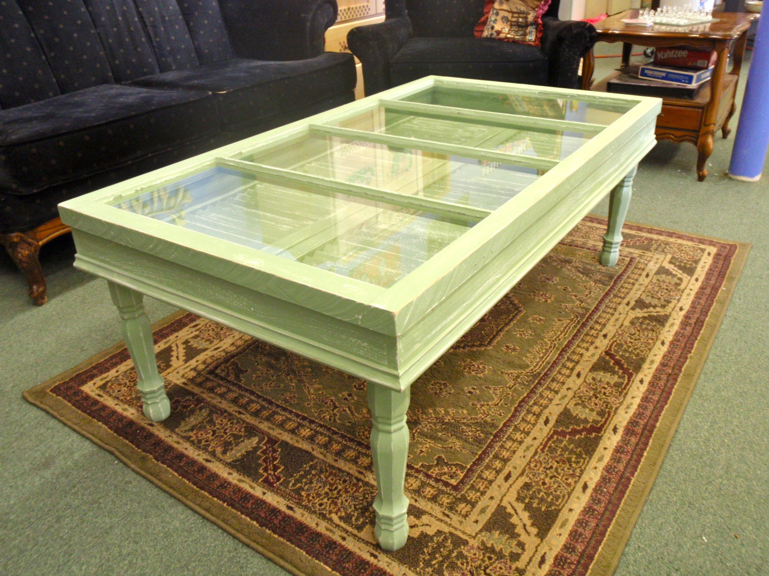 This Is An Awesome Coffee Table My Hubby Made For Me Down At My Store Out Of Old Shutters And An Old Win Cool Coffee Tables Coffee Table Painted Coffee Tables