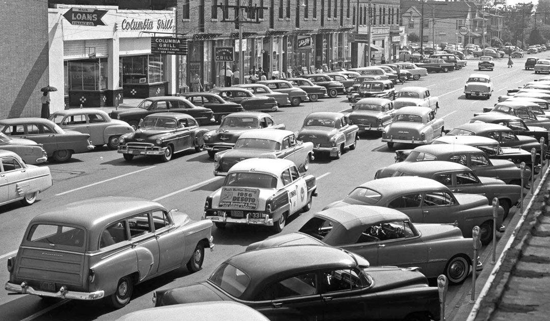 Parked Cars and Traffic in Philadelphia Street Scene in