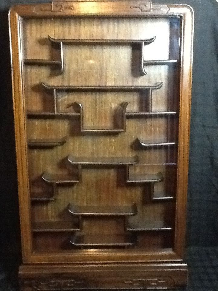 Antique Chinese Rosewood Wall Mount Curio Cabinet 37 5in H X 23in L 4 D