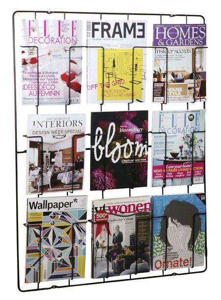 FRAME-9. Magazine Wallrack, Matt-black. 9 compartments. Design: Remco van der Leij