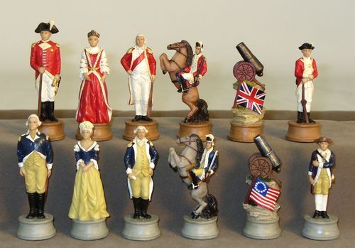 """3.25"""" American Revolution Chessmen are incredible, stunning detail! History buffs, chess collectors, chess fanatics will rave about it & would probably even fight to have these pieces!"""