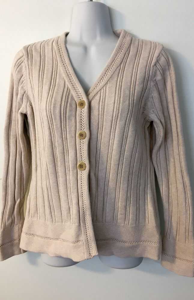 Eddie Bauer Beige Cardigan size L Womens Sweater Cotton 3 Button Ribbed V-Neck #EddieBauer #Cardigan