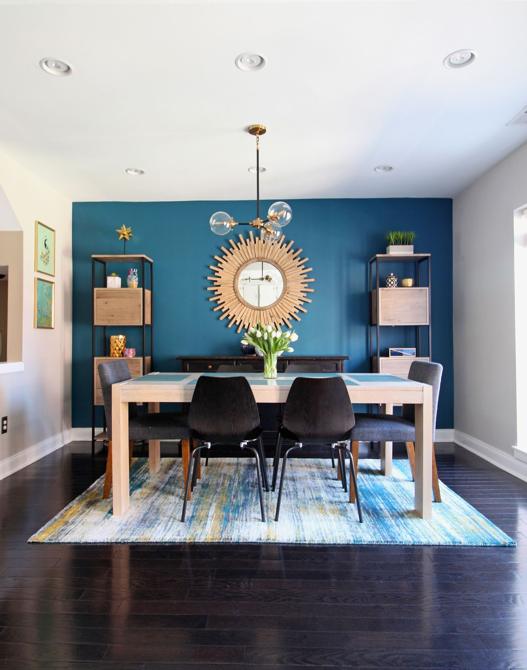 Queen Village Cozy Modern Dining Room Reveal Blue Walls Living Room Modern Dining Room Blue Living Room Color