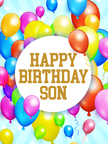 send free rainbow birthday balloon card for son to loved ones on