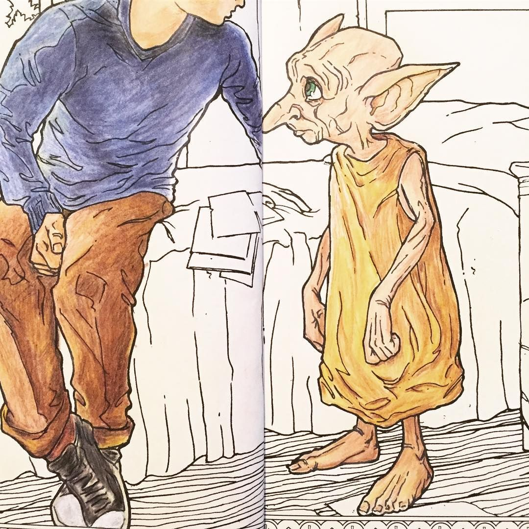 Dobby My Favorite House Elf Harrypotter Adultcoloringbook Magicalcreatures Harrypottercoloringbook
