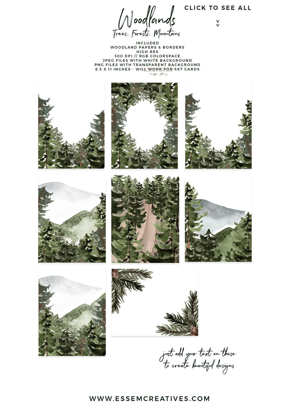 Mountain Forest Wedding Invitations forest mountain pine trees greenery watercolor green forest wedding invitation wedding invites