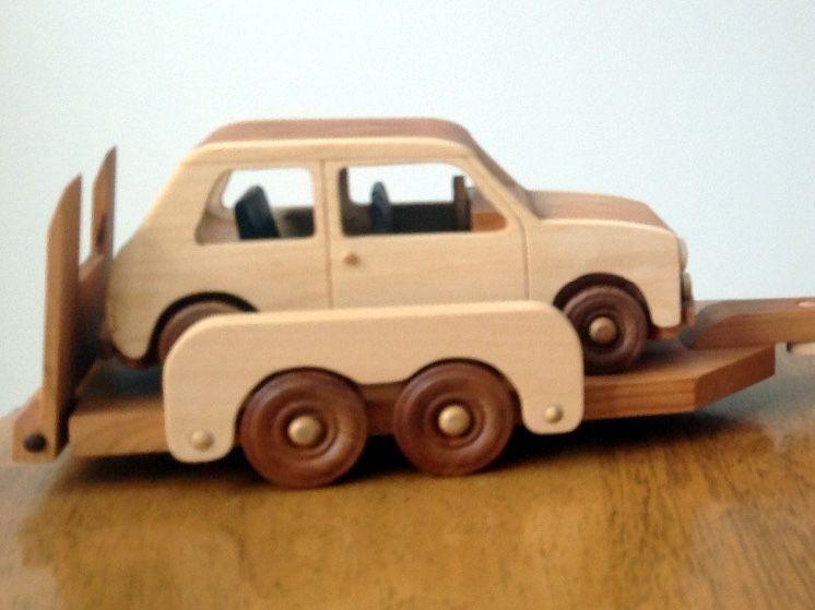 Handmade Wooden Toy Cars Mini Cooper Landrover Trailer