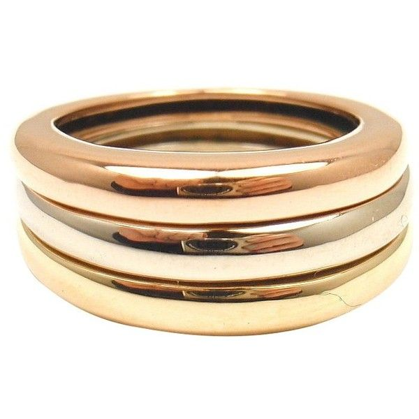 Preowned Cartier 18K Tri Color Gold Bonded Stacking Ring 2000