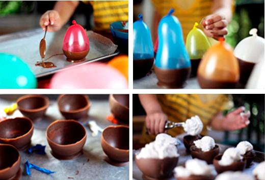 Modo de Preparo Pra começar, derreta um chocolate de sua preferência. Encha algumas bexigas de festa. Deixe-as com o tamanho parecido com o da foto. Depois, mergulhe a parte de baixo das