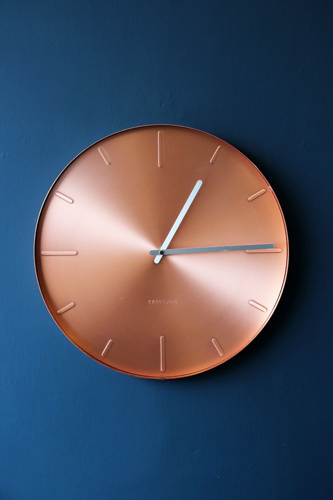 Round Copper Wall Clock Love Navy And Copper   This Clock Is Stunning.