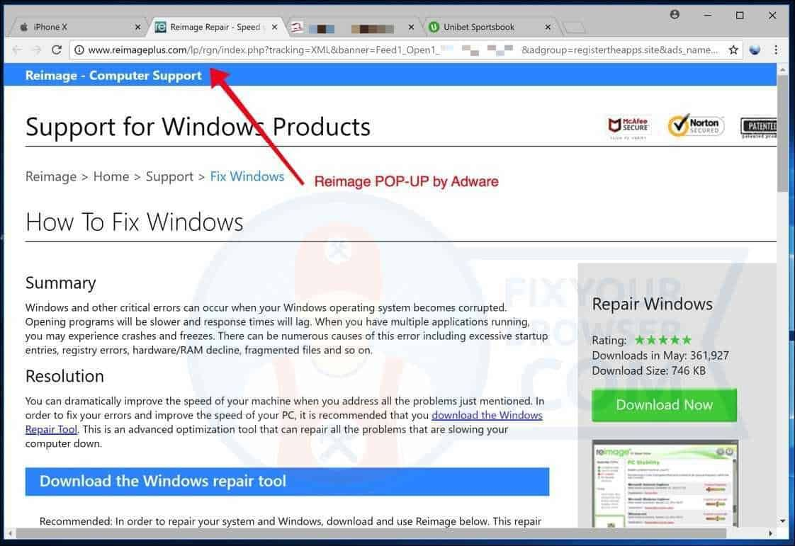 Reimageplus com is a popup redirect associated with Adware