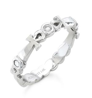 Ankh Eternity Wedding Band 14k White Gold 15pt Carats In Diamonds