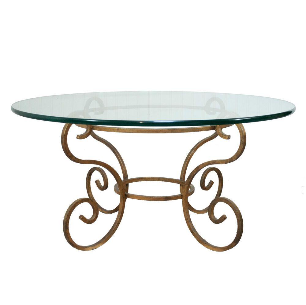 Madox Modern Classic Antique Gold Leaf Glass Coffee Table: Vintage Italian Hollywood Regency Gold Gilt Iron Scroll