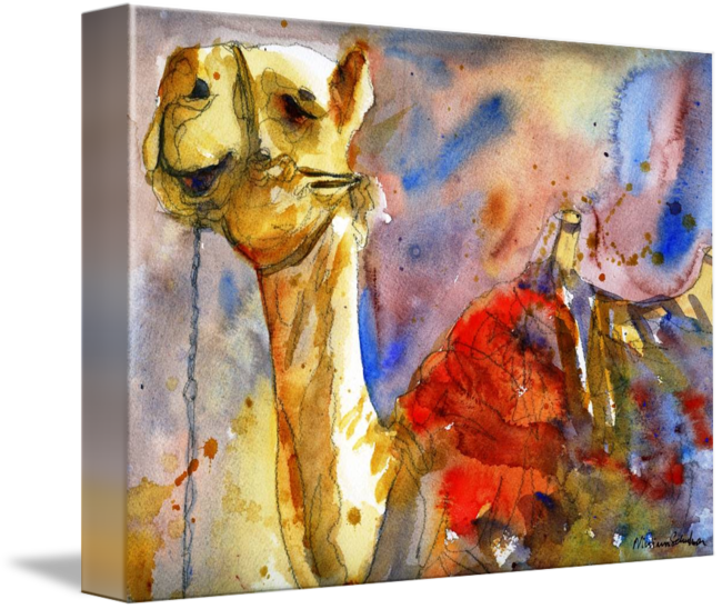 """""""Camel+Art""""+by+Miriam+Schulman,+New+York+//+A+majestic+camel+carries+his+pack+proudly+through+the+desert.+This+is+a+print+of+an+original+painting+by+Miriam+Schulman.+//+Imagekind.com+--+Buy+stunning+fine+art+prints,+framed+prints+and+canvas+prints+directly+from+independent+working+artists+and+photographers."""