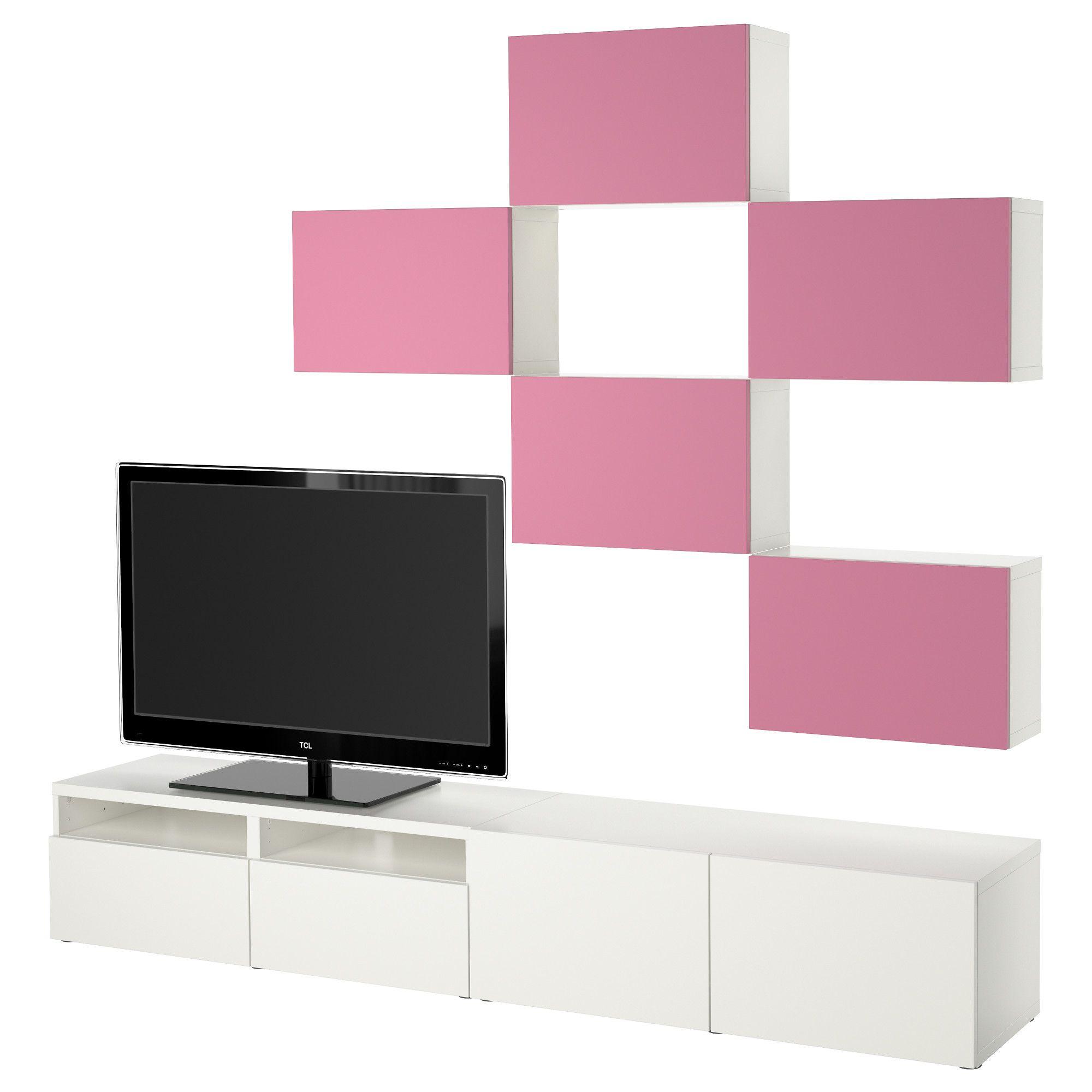 BESTÅ, TV Möbel, Kombination, Lappviken Rosa/weiß, Rosa/weiß