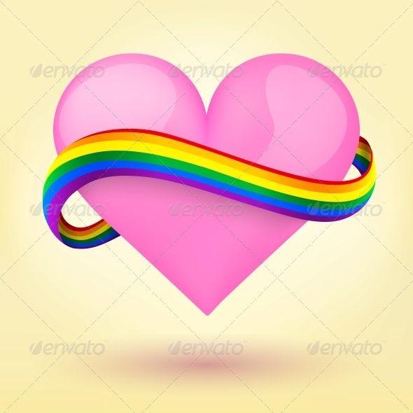 Rainbow Ribbon Around Heart