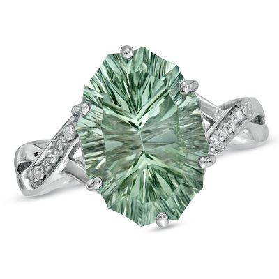 Zales Oval Green Quartz and Diamond Accent Ring in Sterling Silver PRq0Ox