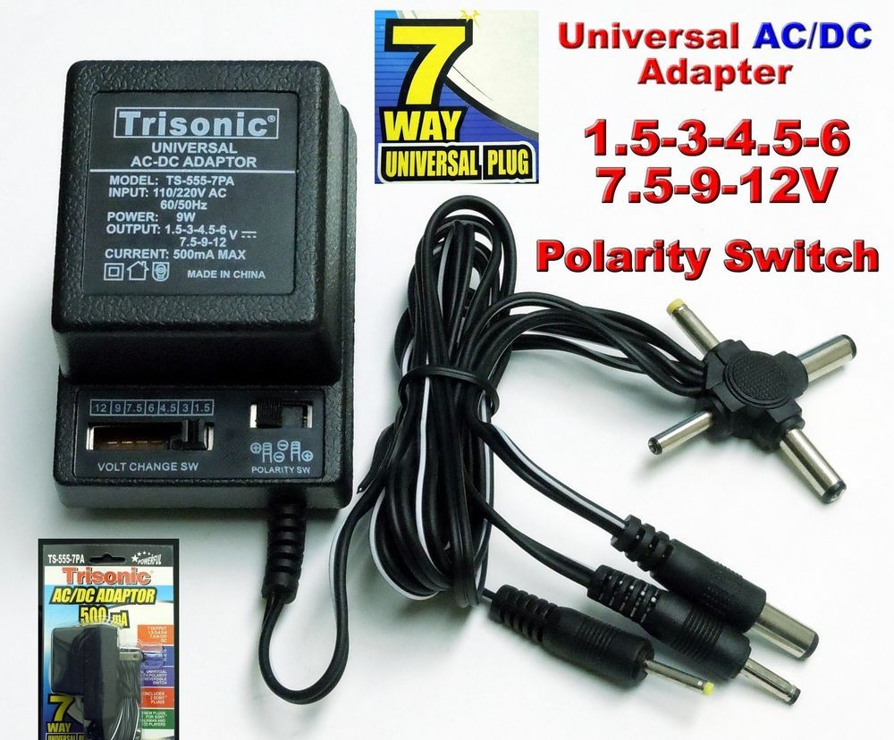 Universal Ac Dc Power Adapter Output 3v 4 5v 6v 7 5v 9v 12v 500ma 2 Sony Plugs Adapter Acdc Power