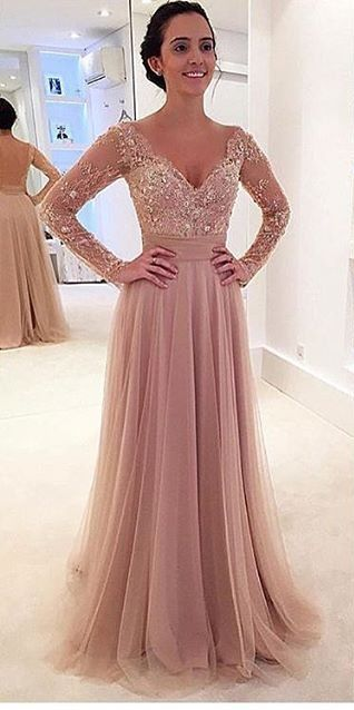 e7897e9a9b4f Long Sleeves Blush Pink Lace Prom Dress,Sexy Open Back Blush Pink ...
