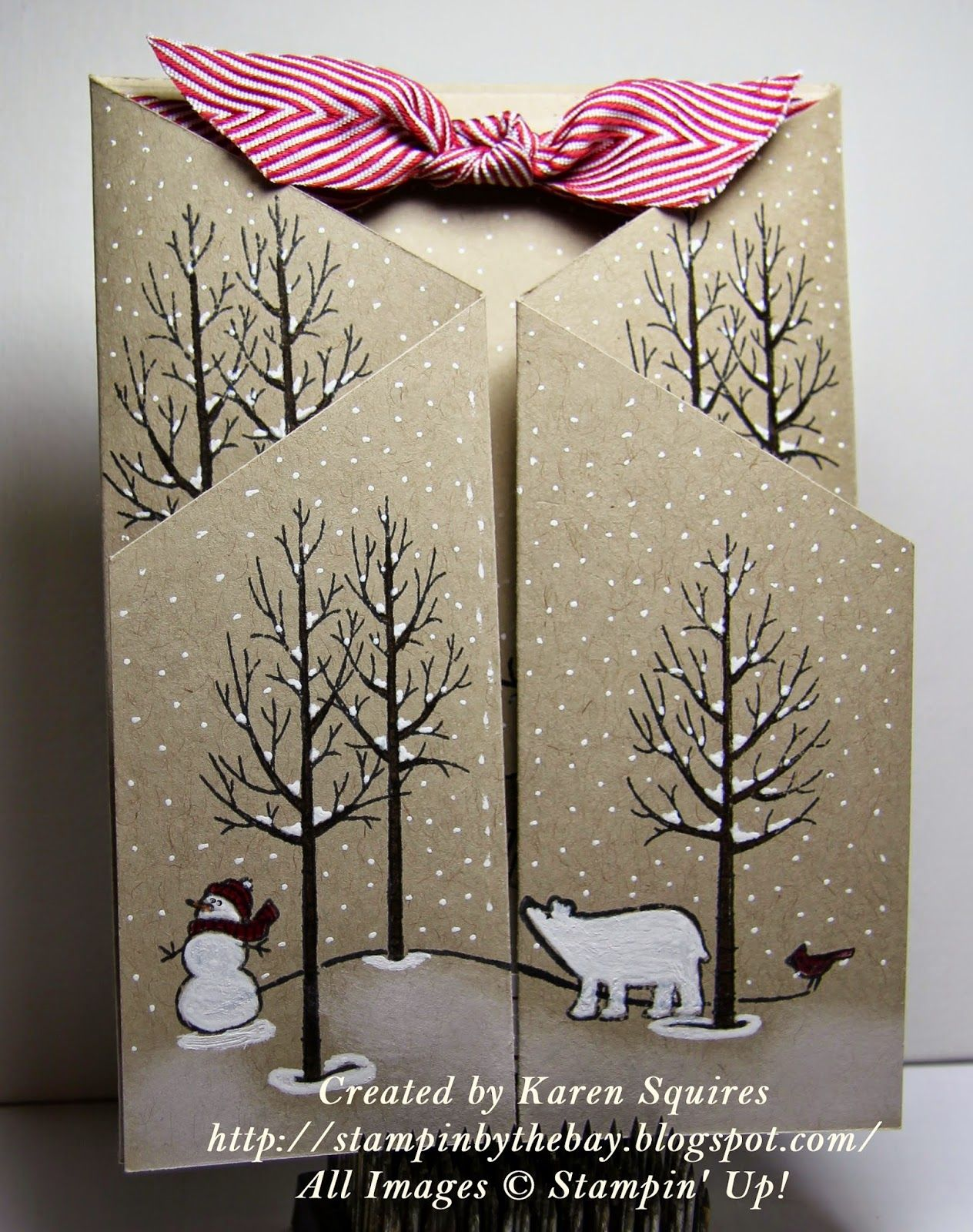"Stampin"" Up! ... handmade winter card fro Stampin' By The Bay: White Christmas Stand Up Card ... luv the look of black and white stamping on kraft ... looks like a double cascade gate card ... snow scene ... white snow on bare branches ... gorgeous!"