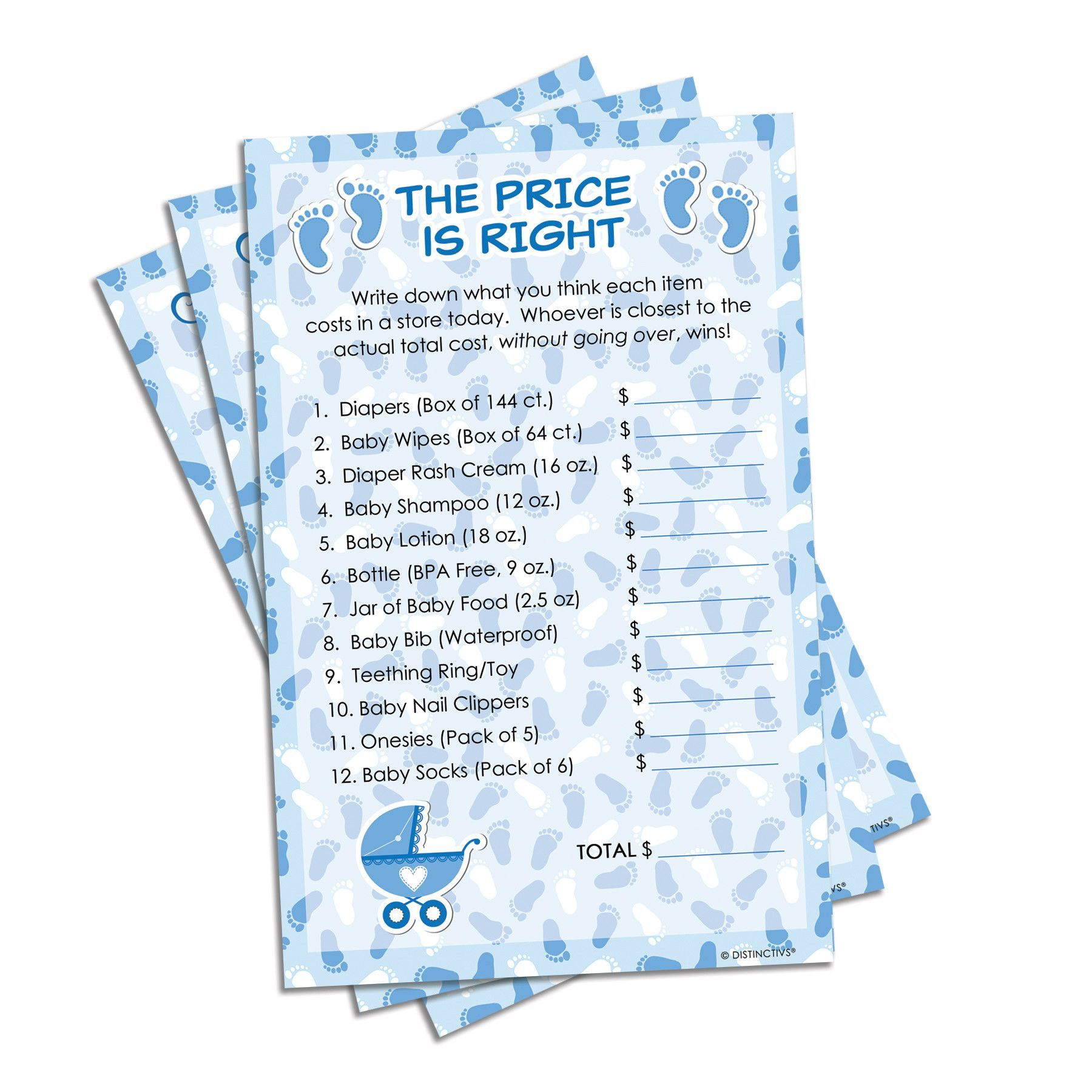 It\'s a Boy Blue Baby Shower Game - The Price Is Right (Set of 20)